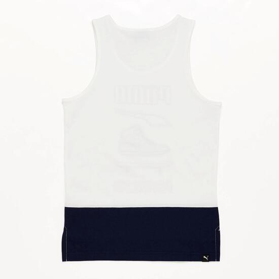 Camiseta Tirantes Niño Puma Blanco Marino