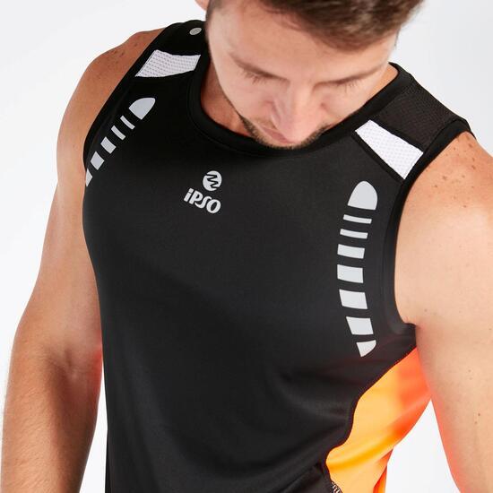Camiseta Tirantes Negra Naranja Hombre Ipso Reflective