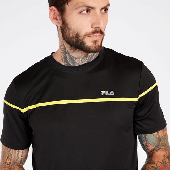 Camiseta Tenis Negra Hombre Fila