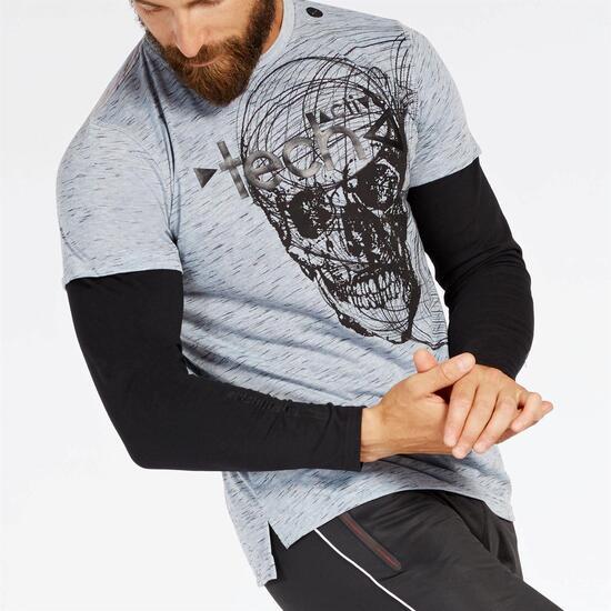 Camiseta Doble Manga Gris hombre