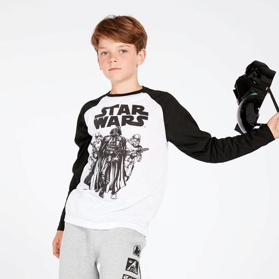 Camiseta Star Wars Blanca Negra Niño (10-16)