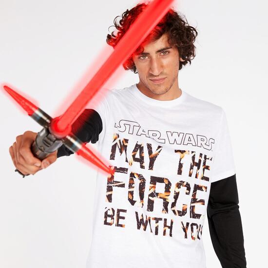 Camiseta Star Wars Blanca Negra Hombre