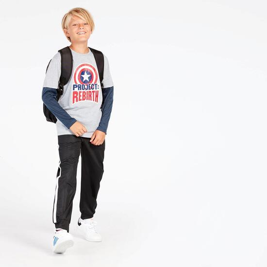 Camiseta Capitán América Gris Azul Niño (10-16)