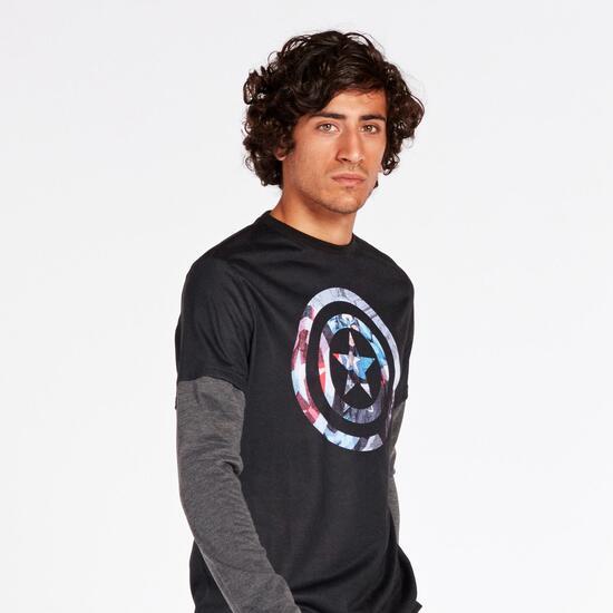 Camiseta Capitán América Negra Gris Hombre
