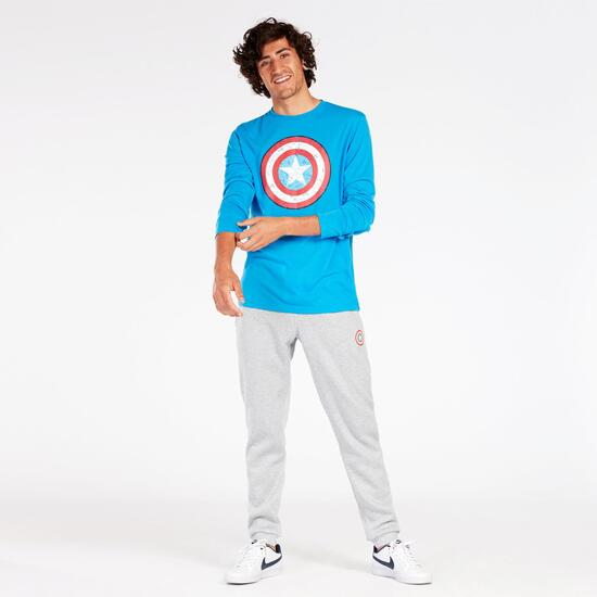 Camiseta Capitán América Azul Hombre