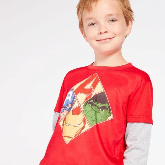 Camiseta Marvel Rojo Gris Niño (2-8)