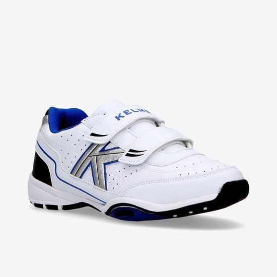 Zapatillas Kelme Velcro Blancas Azul Niño (28-35)