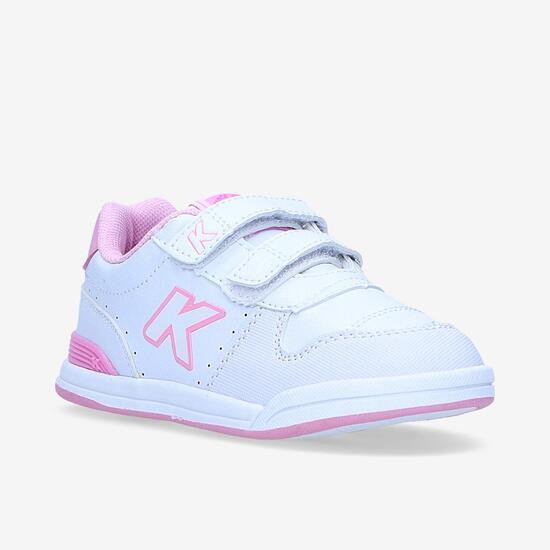 Zapatillas Kelme Velcro Blancas Rosas Niña (22-27)