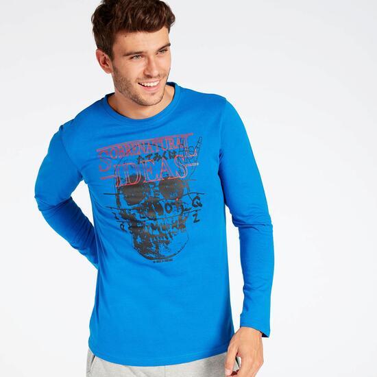 Camiseta Manga Larga Calavera Azul