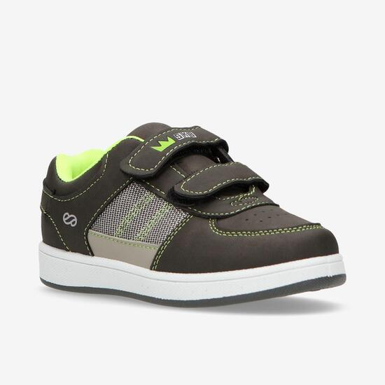 Zapatillas Casual Velcros Negras Niño Silver (28-35)