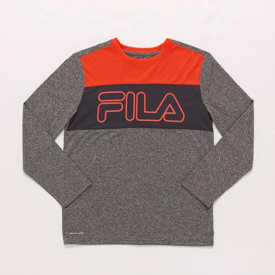 Camiseta Manga Larga Gris Junior Fila