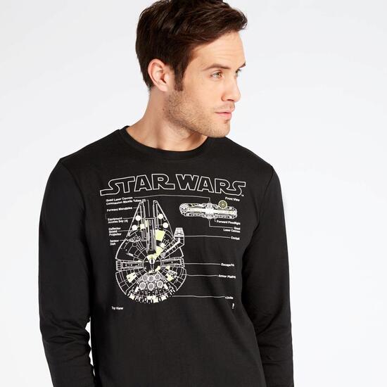 Camiseta Manga Larga Star Wars Negra Hombre