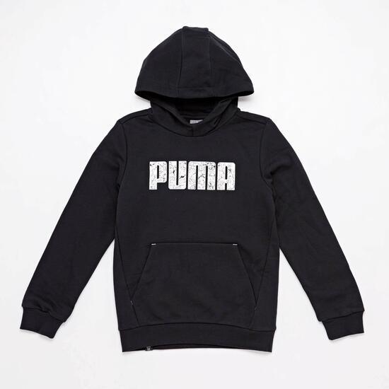 Sudadera Capucha Puma Negra Jr