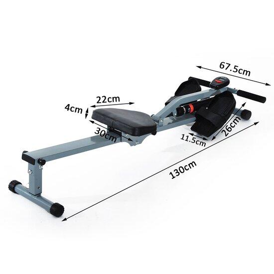Máquina De Remo Ajustable Con Pantalla Para Fitness ? Color Gris - Acero, Pvc ? 130 X 67.5 X 67cm