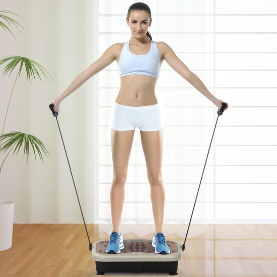 Homcom® Placa De Vibración Plataforma Vibradora Con 2 Bandas Elásticas Para Fitness Entrenamiento 20