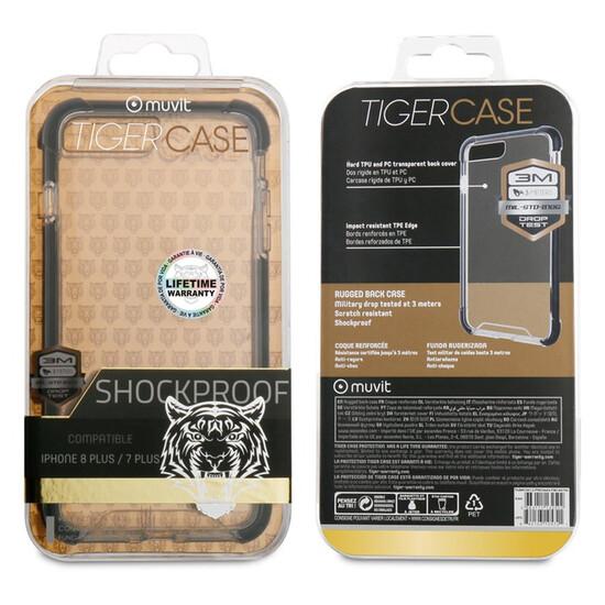 Muvit Tiger Hard Funda Apple Iphone 8/7 Plus Shockproof 3m Transparente + Borde Negro