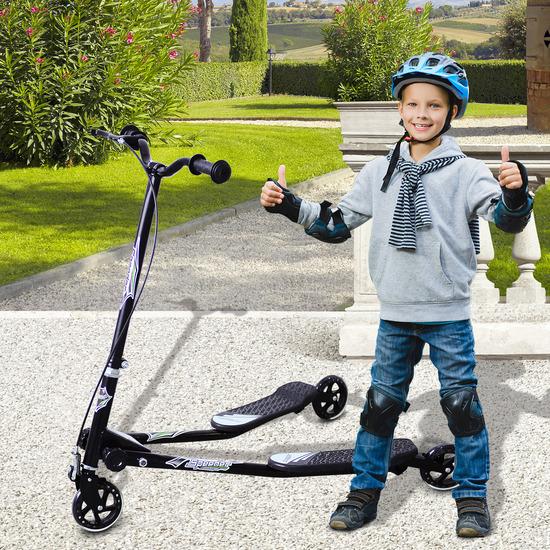 Homcom® Patinete Scooter De 3 Ruedas Plegable Scooter De Reductor Negro