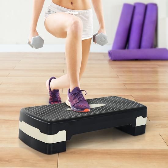 Homcom® Tabla Plataforma Stepper Para Deporte Con Altura Regulable A 2 Niveles Carga 150kg