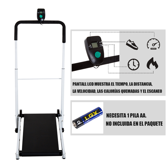 Homcom® Cinta De Andar Manual Caminadora Plegable Portátil Pantalla Lcd 2 Niveles De Inclinación Car