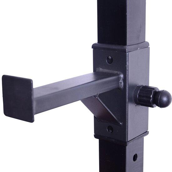 Homcom® Soporte Estante Ajustable Para Barra Y Pesas Carga Max 150 Kg Negro 52 X 80 X 105 - 163 Cm