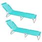 Pack De 2 Tumbonas Playa Cama De 3 Posiciones Aguamarina Aluminio Y Textileno