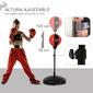 Homcom Saco De Boxeo  Con Altura Ajustable, Guantes Y  Soporte Estable Resorte De 360 Grados 3