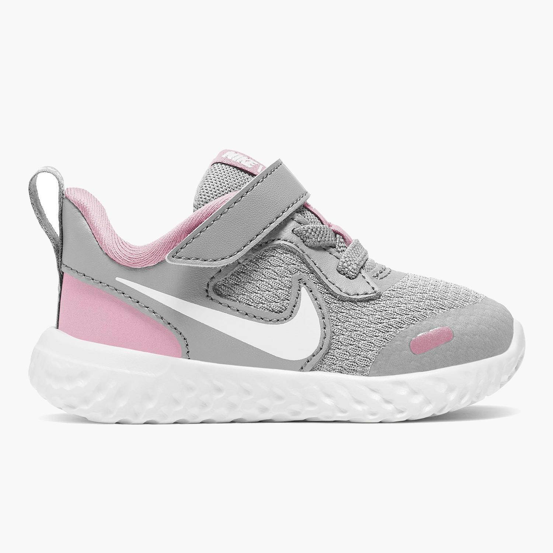 Nike Revolution 5 - Gris - Zapatillas Velcro Niña