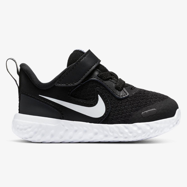 Nike Revolution 5 - Negras - Zapatillas Velcro Niño